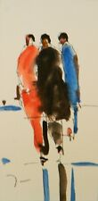 JOSE TRUJILLO ORIGINAL Watercolor Painting Small 3x6 Three Figures Abstract Art