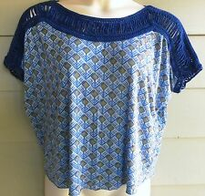 Size Small Medium FREE PEOPLE Blue Green Crochet Boho Bubble Circle Top Paisley