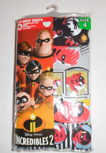 Incredibles 2 Disney Pixar Kids 5 Cotton Briefs Underwear Boys Size 4 Red Yellow