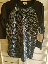 NWT LuLaRoe Elegance ELEGANT Zebra RANDY - BLACK TEAL Green SILVER Foil Small S