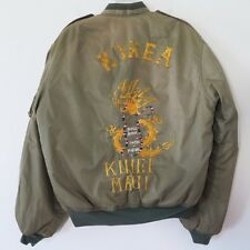 Vintage Original Souvenir Jacket Korea Hawaii Maui Michigan Size Medium Green