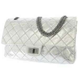 CHANEL 2.55 WChainShoulder Leather Silver