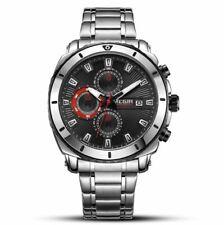 MEGIR Large Dial Wrist Watch Mens Chronograph Quartz Stainless Band Black Face