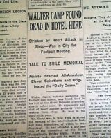 """WALTER CAMP """"Father of American Football"""" Yale University DEATH 1925 Newspaper"""