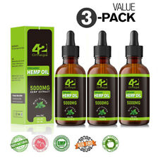 3 PACK 5000 MG Organic  Oil Drops Pain Relief Reduce Stress Better Sleep