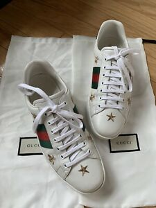 Gucci Men's Ace embroidered sneakers green red white Bees Stars 9/US 9.5 RP $770