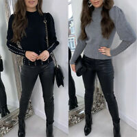 Long Puff Sleeve Women T-shirt Studded Slim Fit Tee Tops Casual Pullover Blouse