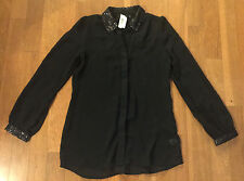 APT 9 Black Sequins Detail Button Down Oxford Semi Sheer Holiday Tunic Top S NWT