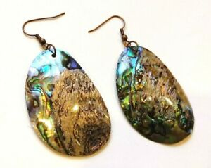 Handmade Natural shell EARRINGS antique copper tone finding accessories