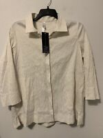 NWT Marla Wynn Textured Crinkled Button Down Top Shirt SZ Large Ivory White