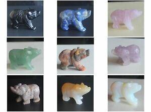 HLbshi Carved mixed gemstone crystal quartz bear animal figurine animal carving