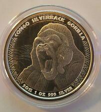 Silverback Gorilla 1 oz .999 Silver coin proof like Republic of Congo 5000 franc