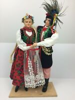 Poland POLISH DANCE COUPLE Dolls with traditional folk costumes stand Vintage