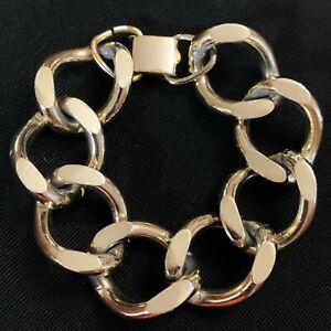 """Vtg 80s Chunky Couture Gold Tone Chain Link Bracelet 1"""" Wide 7.75"""" Length"""