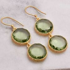 "Earrings Jewelry 2.16"" Ae 78998 Peridot Handmade Drop Dangle Gold Plated"