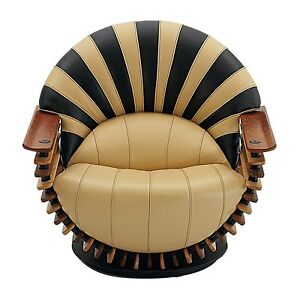 """39"""" W Arm chair soft Italian leather brown black polished exotic wood & swivel"""