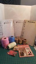New listing Vintage 1970s + modern Macrame Supplies Yarn Jute Beads Boards Instruction Book