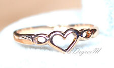 18K Rose Gold GP Plated Love Heart Thumb Pinky Ring All Size Stackable Girls