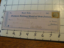 Cancelled Check: 1874 FARMERS NATIONAL BANK OF NEW JERSEY  mount holly NJ,