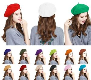 Traditional Wool French Beret Women's Men's Solid Color Plain Beanie One Size