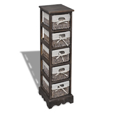 Brown Wooden Rack Storage 5 Baskets Shabby Wicker Drawers Drawer Bathroom Unit