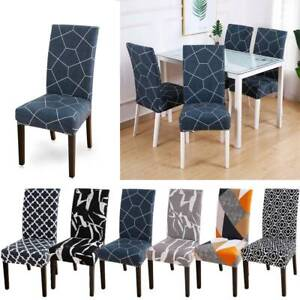 4PCS Geometric Print Stretch Dining Chair Covers Seat Slipcovers Party Decor wen