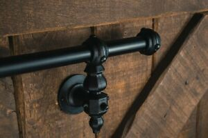 industrial stair hand rail, staircase, cast iron, wrought iron, vintage, black
