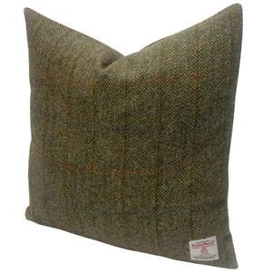 "Harris Tweed Green & Fawn Herringbone  45cm / 18"" Cushion Duck Feather Insert"