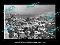 OLD LARGE HISTORIC PHOTO OF SANTA MARIA CALIFORNIA AERIAL VIEW OF CITY c1930 3