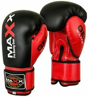 Maxx® Maya Leather GEL Boxing Gloves MMA Training Fight Sparring Glove Ufc B/RED