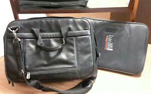 Briggs & Riley Black Leather Briefcase Travel Bag Quality Laptop Computer Case