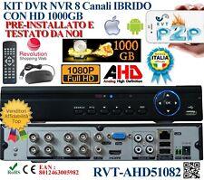 KIT Dvr 8 Canali FULL HD + HARD DISK 1 TB 1000 GB IBRIDO P2P USCITA VIDEO BNC