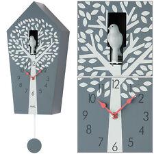 AMS quartz Horloge murale montre avec pendule coucou gris NEUF