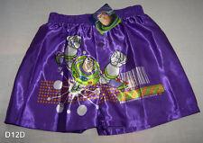 Disney Toy Story Buzz Lightyear Boys Purple Satin Boxer Shorts Size 6 - 8 New