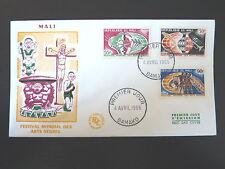 MALI  85/87   PREMIER JOUR FDC       ARTS NEGRES ,TROMPETTE     55+30+90F   1966
