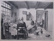 "EUGENE ABOT FRENCH ETCHING AFT VON UHDE ""LES COUTURIERES"" C 1880"