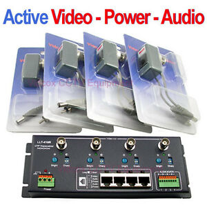 4Ch Active Receiver + Transmitter Video Power Audio Balun BNC to UTP CCTV Camera