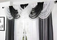 SPARKLING GLITZY CRYSTAL BEADED TRIM SOFT FOLD WHITE VOILE SWAG £5.95 EACH