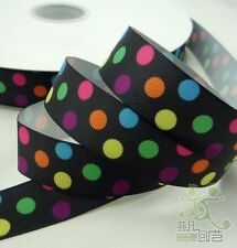 """7/8"""" 22mm Black Colorful Dots Grosgrain RIBBON Hair Bow 5Yards Craft Sewing"""