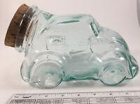 Volkswagen VW Beetle Bug Car Clear Glass Candy,cookie Jar w/Cork Lid