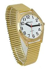 Ravel Men's Round White Clear Dial Expander Golden Bracelet Watch R0225.02.1