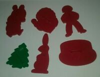 6 Vintage Red Green Plastic Holiday Cookie Cutters Molds Presses Bunny Pig Cake