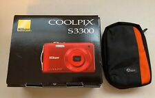 Nikon COOLPIX S3300 16.0MP Red Digital Camera w/ Case,8GB SanDisk & Original Box