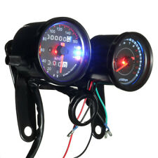 Universal Motorcycle LED Dual Backlight Odometer Tachometer Speedometer Gauge