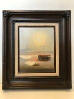 """Peter Garner Original Oil Painting, Seascape, Signed, Framed, 7 1/2"""" x 10"""" Image"""