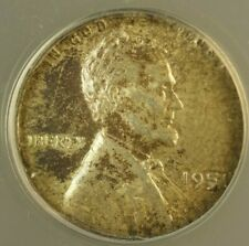 1951 Lincoln Wheat Cent 1c Struck on Silver Dime Blank ANACS AU-55 Mint Error