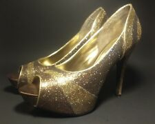 WORTHINGTON Womens Gold Glitter Sparkle Stilleto High Heels Open Toes Size 8 M