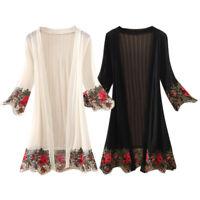 Women Lace Floral Kaftan Beach Wrap Dress Long Kimono Cardigan Tops Loose Blouse