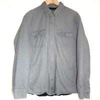 Eddie Bauer Men's Size Medium Gray Fleece Lined Button Shirt Jacket