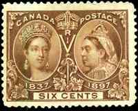 Canada #55 used F-VF 1897 Queen Victoria 6c yellow brown Diamond Jubilee